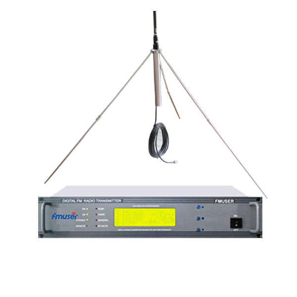 FMUSER CZH618F-30W 2U Professionell FM-sändare CD-kvalitet Broadcasting LCD Displayer + 1 / 4 Wave GP-antennsats för FM-radiostation