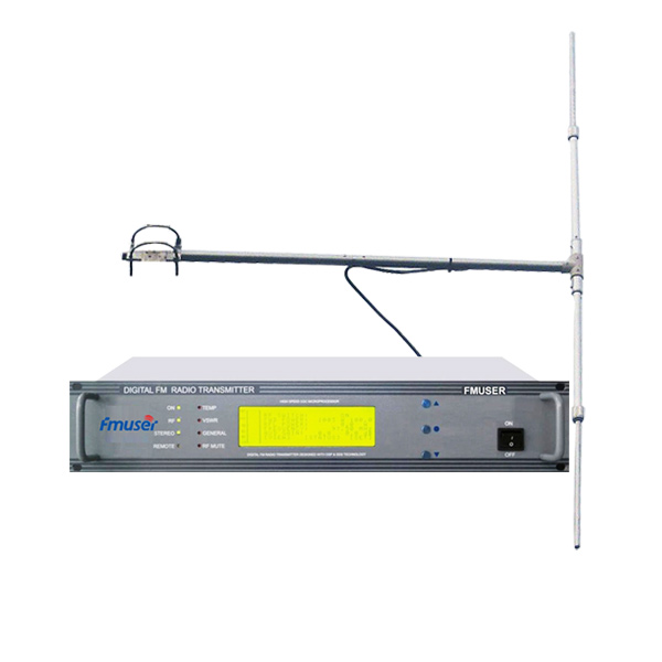 FMUSER CZH618F-30W 2U Professionell FM-sändare CD-kvalitet Broadcasting LCD Displayer + DP100 1 / 2 Wave Dipole Antenna Kit för FM Radio Sation
