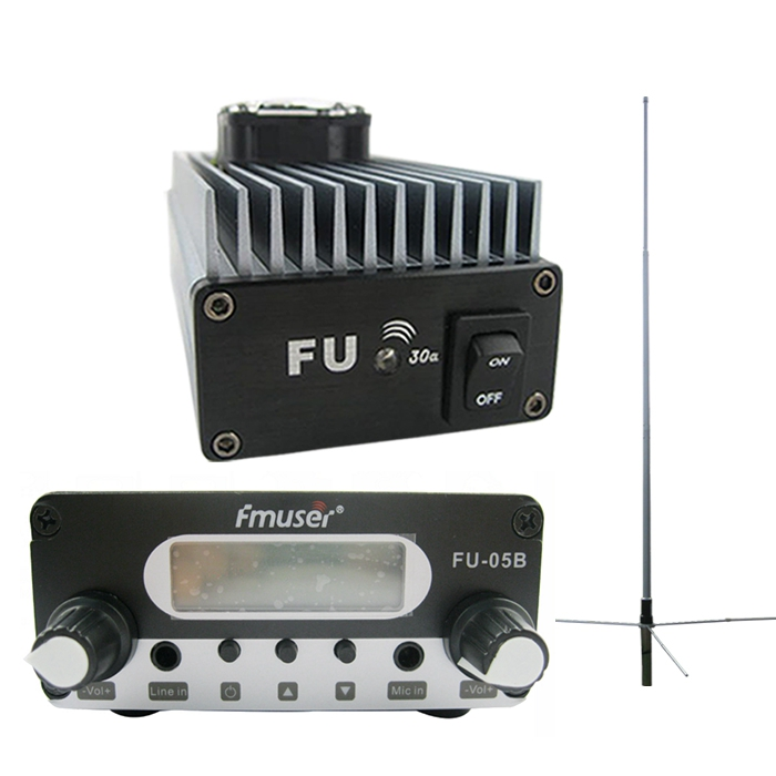 FMUSER FU-30A 30W Mtaalamu wa Power Amplifier Power + 0.5w FM Kusisimua 85-110MHz 1 / 2 Wave GP Antenna Kit