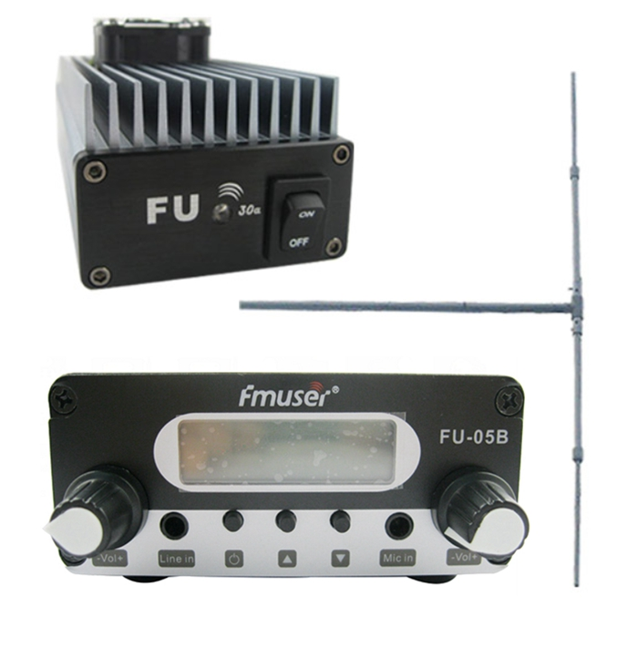 FU-30A 30W FM Transmitter Amplifier+0.5w FM Exciter+1/2 Wave Dipole Antenna Kit
