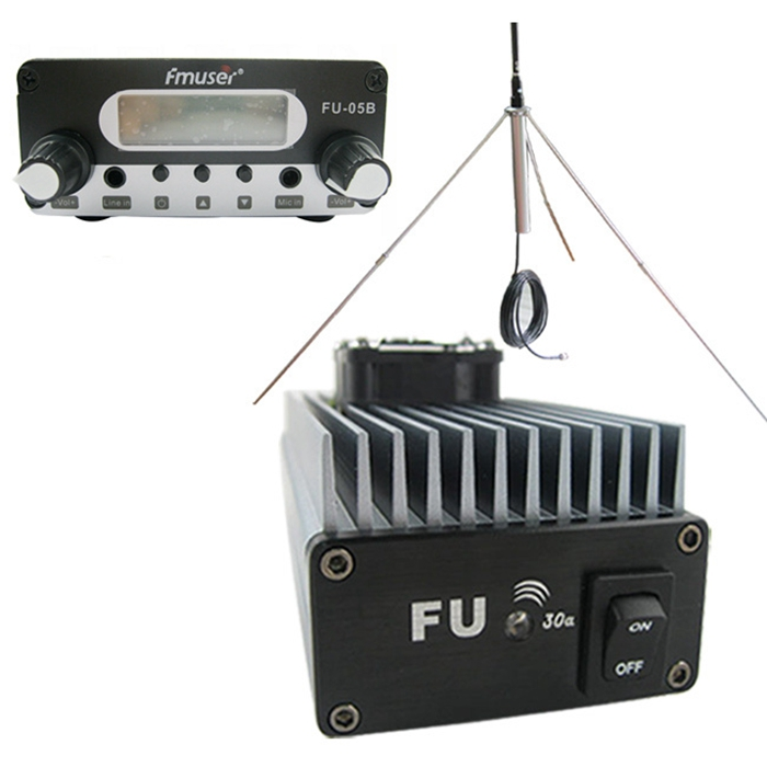 FMUSER FU-30A 30W Professional Power Amplifier FM Transmeri FM Kusisimua + 1 / 4 Wave GP Antenna Kit kwa FM Transmitter 85-110MHz
