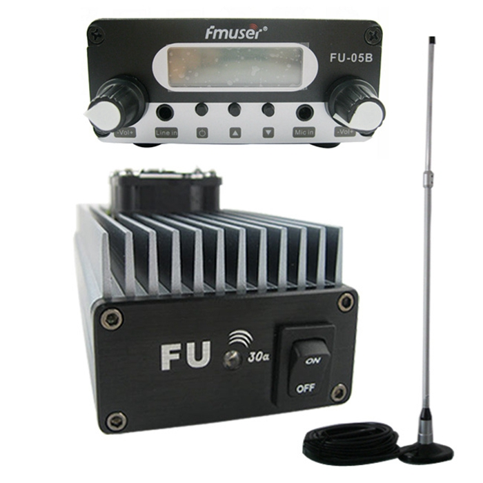 FMUSER FU-30A 30W Professional FM Power Amplifier FM Transmitter FM Exciter 85 -110MHz + CA200 Car Sucker FM Antenna
