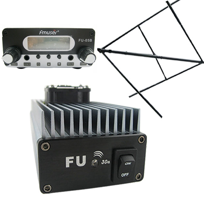 FMUSER FU-30A 30W Professional FM Power Amplifier FM Transmitter FM Exciter 85 -110MHz + CP100 Circular Polarized Antenna for Radio Station