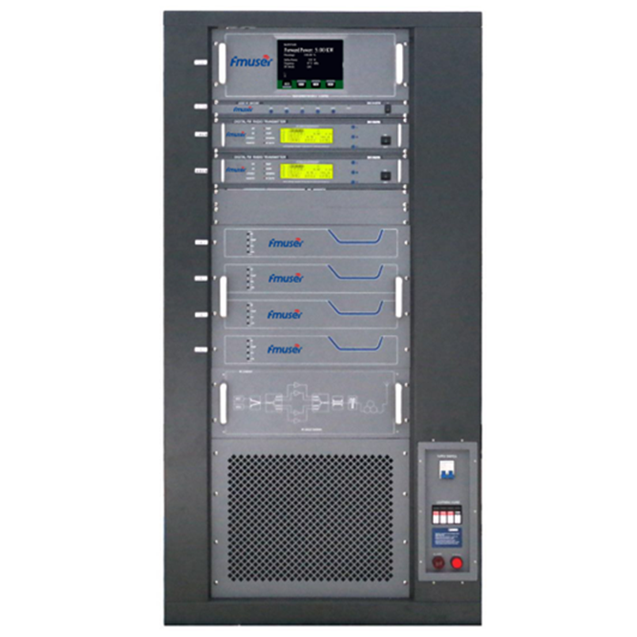 FMUSER FU618F-5kw 5000W 5KW Professional FM broadcast transmitter Rack Mount AES / EBU wiith AGC for City Radio Station + 8 Bay FM-DV1 Dipole Antenna
