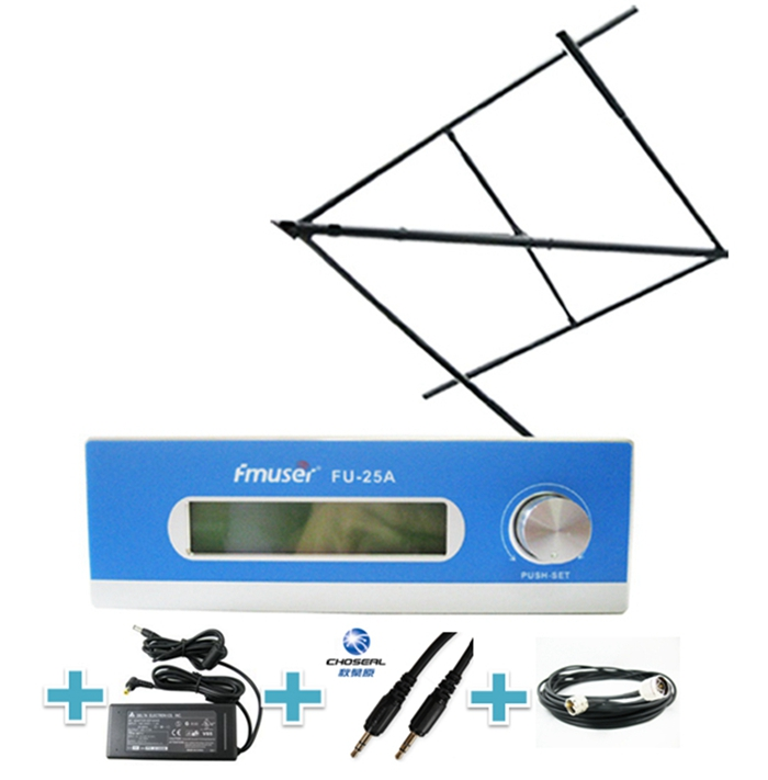 FMUSER FU-25A CZE-T251 CZH-T251 25W PLL FM Broadcast Radio Transmitter FM Exciter 0-25w Mono/Stereo Adjustable Excellent Sound Quality+Circular Polarized Antenna for FM Radio Station