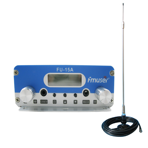 FMUSER FU-15A CZH-15A FM transmiter radio broadcast transmiter na may CA200 Car Sucker FM antena Kit