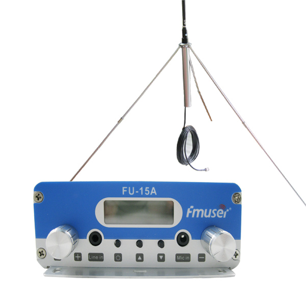FMUSER FU-15A Sliver 15W FM-radiosender Set Low Power Long Rang FM Broadcast-sender FM Exciter + 1 / 4 Wave GP-antenne + Strømforsyning for liten radiostasjon CZE-15A CZH-15A