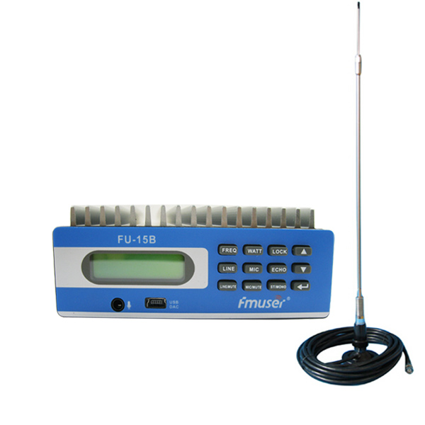 FMUSER FU-15B Professional Transmitter SDA-15B CZE-15B Advanced 15w FM transmitter med PC Temperaturstyring & SWR Beskyttelse + CA200 CAR Sucker FM-antenne + Strømforsyning