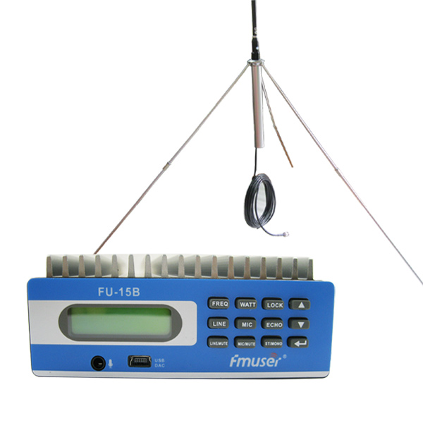 FMUSER FU-15B CZE-15B Low Power FM Broadcast Radio Transmitter fM Exciter for FM Radio Station PC Control 0-15w Adjustable with 1/4 wave GP antenna+Power supply