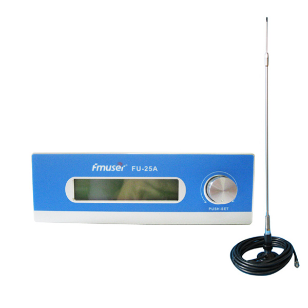 FMUSER FU-25A 25W Long Transmitter FM Set FM Radio Broadcast Transmitter FM Exciter 0-25w Mono / Stereo Adjustable + CA200 Car Sucker FM Antenna Kit ar gyfer FM FM Station CZH-T251 CZE-T251