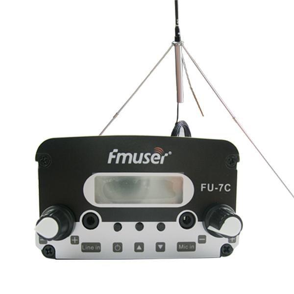 FMUSER FU-7C 7W Low Power FM igorlea PLL FM transmisorea Stereo FM Broadcast transmisorea FM Exciter + 1 / 4 Wave GP Antena Power Kit txiki irrati-geltokia / Drive-in Cinema CZH-7C CZE-7C