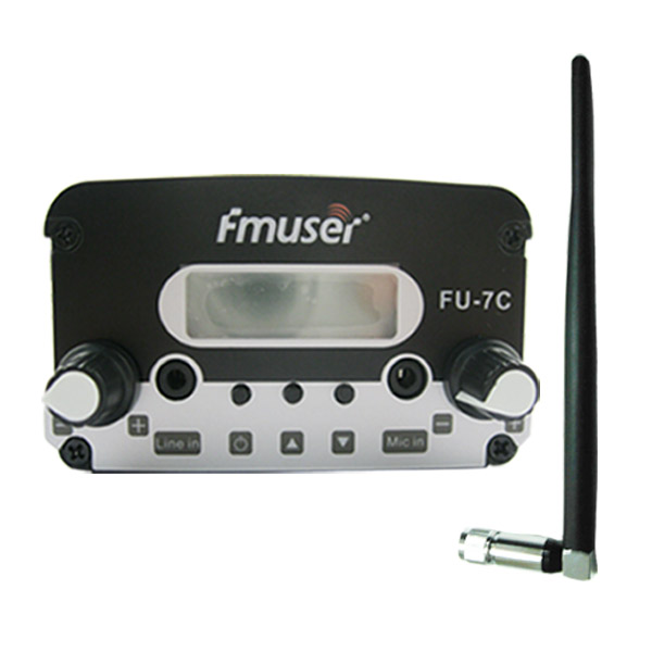 FMUSER FU-7C 7W Behe ​​Power FM transmisorea Set PLL FM transmisorea Stereo FM Broadcast transmisorea FM Exciter + Antena labur Black Kit Mini Irrati geltokia / Drive-in Cinema CZH-7C CZE-7C