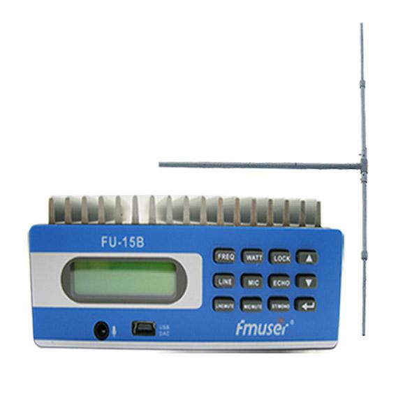FMUSER FU-15B SDA-15B CZE-15B 0-15w FM contrôle émetteur PC SWR protéger 1 / 2 antenne dipôle d'onde à gain élevé KIT