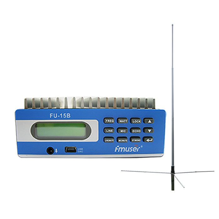 FMUSER FU-15B SDA-15B CZE-15B 0-15w Low Power PLL Trasmettitore radio FM Trasmettitore Kit FM Exciter Controlli PC Shortcust 1 / 2 Wave Antenna GP Kit per piccola stazione radio Range di copertura 3-5km