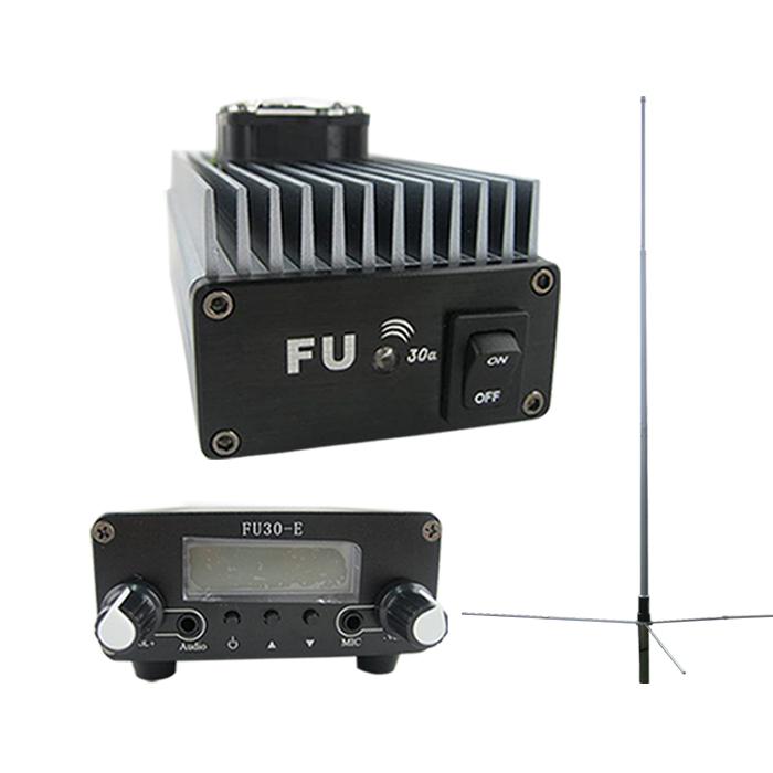 FMUSER FU-30A 30W Professionele FM drywingsversterker sender 85-110MHz 1 / 2 golf GP antenna KIT