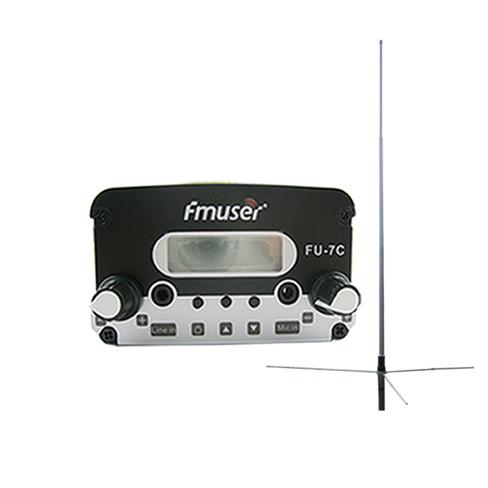 FMUSER FU-7C 7W Behe ​​Power FM transmisorea Set PLL FM transmisorea Stereo FM Broadcast transmisorea FM Exciter + 1 / 2 Wave GP Antena Power Kit Samll Radio Station / Drive-in Cinema CZH-7C CZE-7C