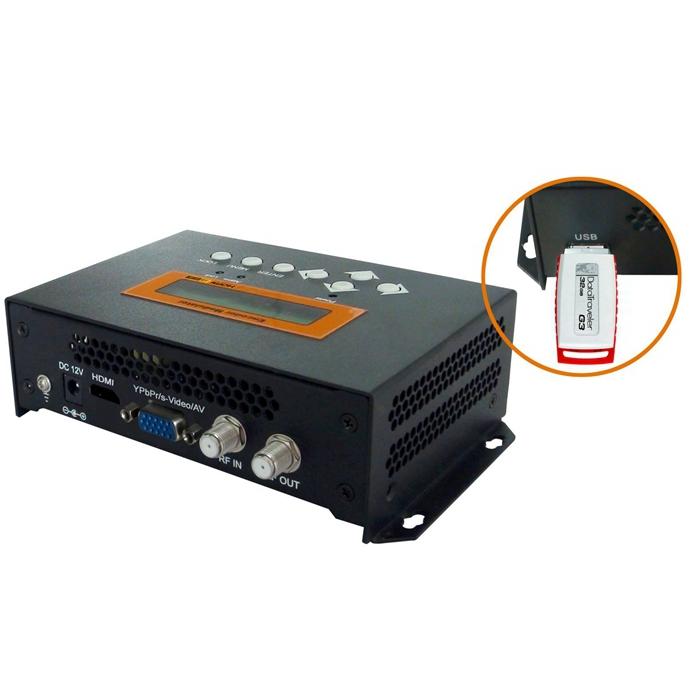 FUTV4656 DVB-T / DVB-C (QAM) / ATSC 8VSB MPEG-4 AVC / H.264 HD kodérový modulátor (Tuner, HDM, YPbPr / CVBS / S-Video; RF výstup) s USB záznamem / uložením / přehráváním / Upgradujte pro domácí použití