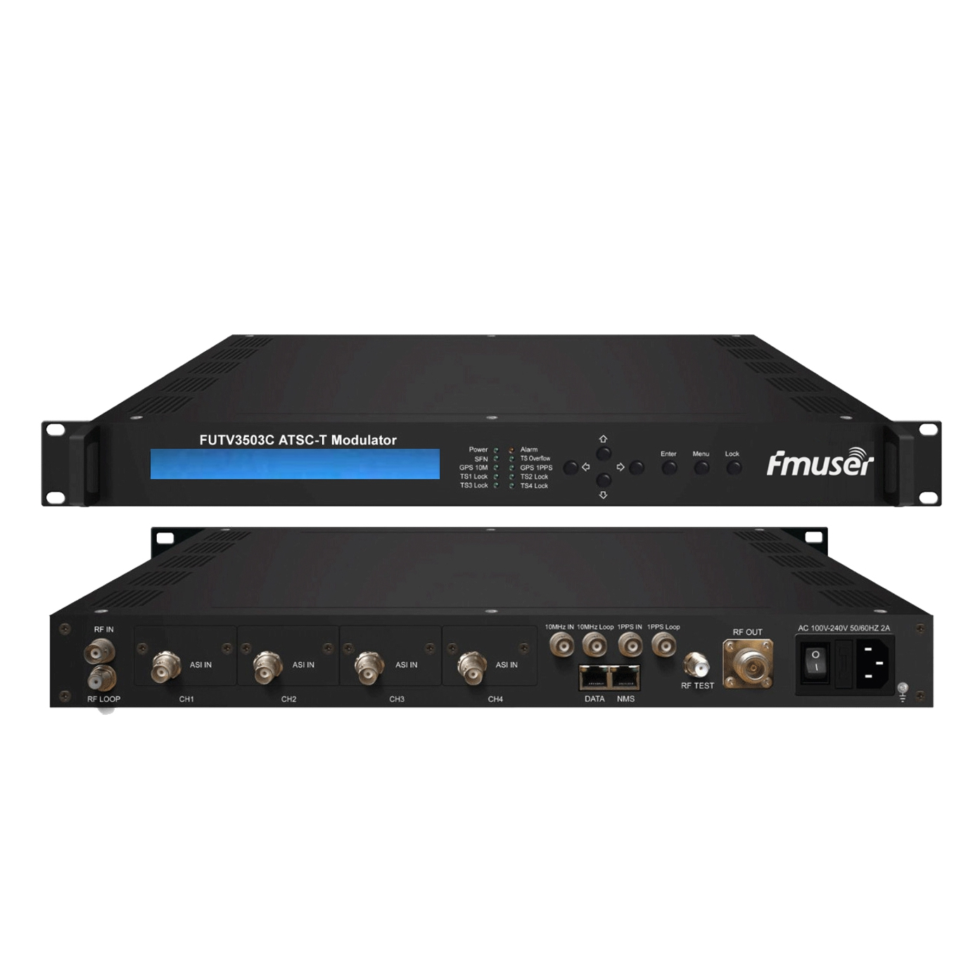FMUSER FUTV3503C ATSC-T 8VSB modulator 8-VSB go RF modhnú (2 * ionchur 2M ASI / 310 * SMPTE, ontput RF, ATSC 8VSB modhnú) leis an mbainistíocht Líonra