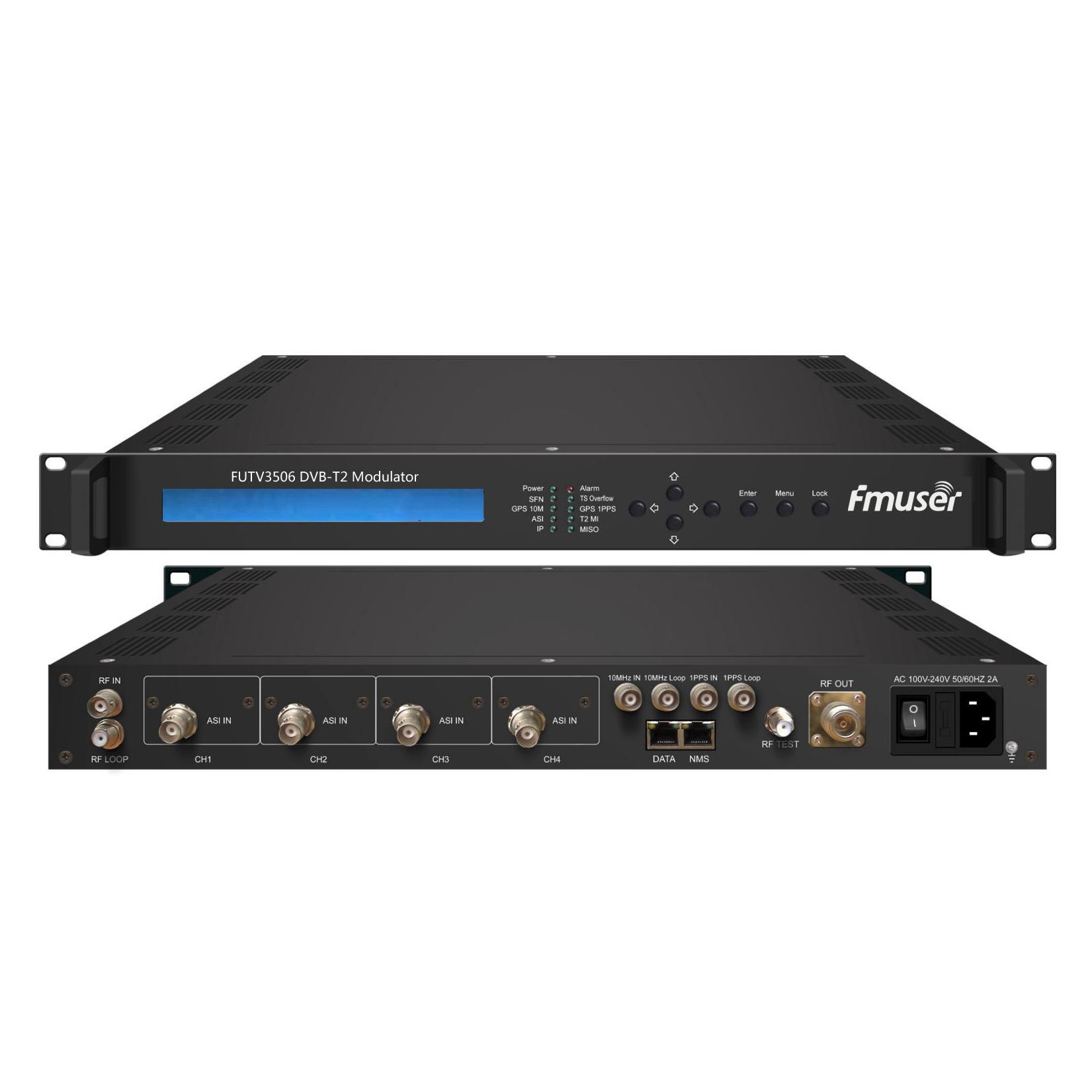 Modulador FMUSER FUTV3506 DVB-T sobre IP (entrada 2 * ASI, saída 1 * IP, QPSK / 16QAM / 64QAM / 256QAM) com sistema de rede
