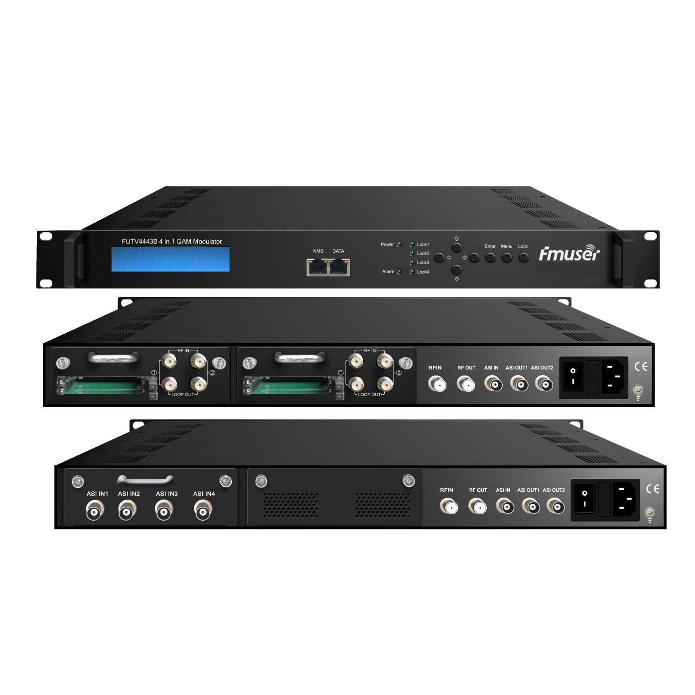 FMUSER FUTV4443B 4 į 1 MUX-kodavimo QAM Moduliatorius (neprivaloma 4 * ASI / imtuvas yra, 4 * RF out) pritaikant kabelinė televizija sistema