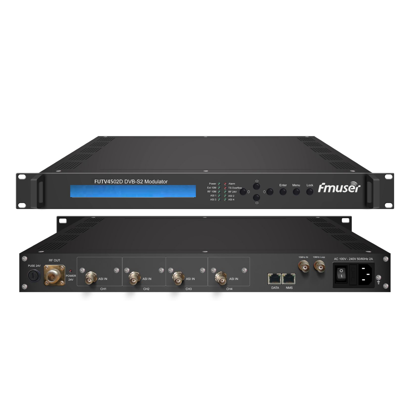 FMUSER FUTV4502D DVB S2 Moduliatorius (4 * ASI į, biss, 24V RF išėjimo,) su tinklo valdymo