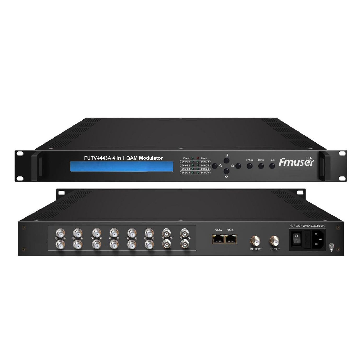 FMUSER FUTV4443A-10 4 1 em Mux-Scrambling QAM (sintonizador DVB-6 S2 + entrada 4 ASI opcional, 4 multiplexagem, codificação e 4 4 QAM modulação) com gerenciamento SNMP