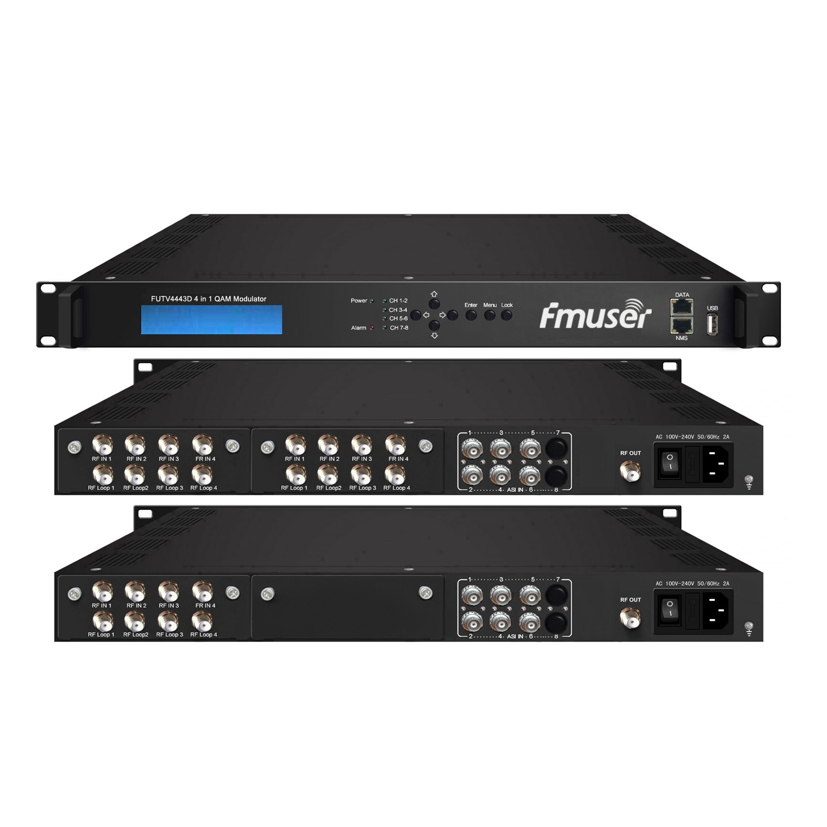 FMUSER FUTV4443D 4 in 1 Mux-Scrambling QAM-Modulator (8Tuner + 6 * ASI in, 4Tuner + 6 * ASI + 2 * IP-out) mit Web-managementtor