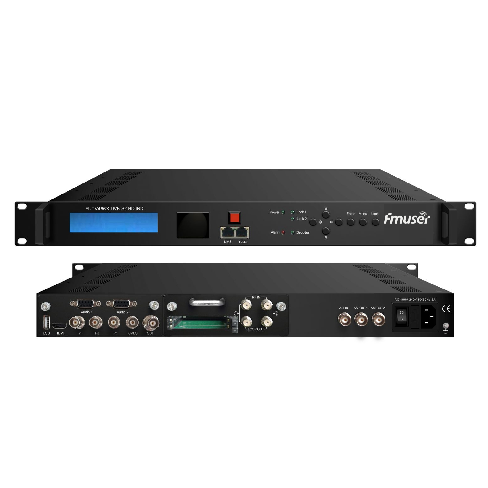 FMUSER FUTV466X Sintonizzatore 2 CAM HD IRD (2 DVB-C / T / S / S2 RF Input, 1 ASI IP In, 2 ASI 1 IP Output) con MUX BISS