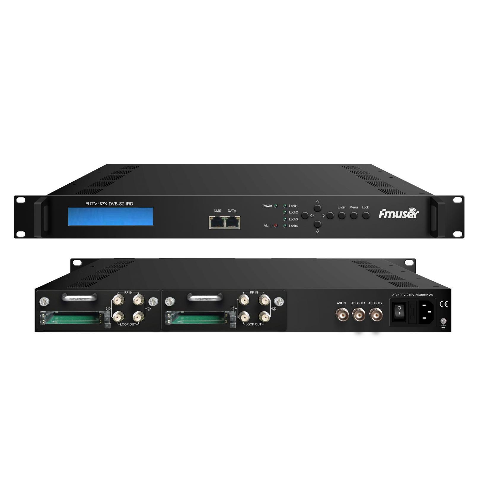 Sintonizador FMUSER FUTV467X 4 CAM IRD (entrada RF 4 DVB-C / T / S / S2, entrada IP ASI 1, saída IP ASI 2 1) com MUX