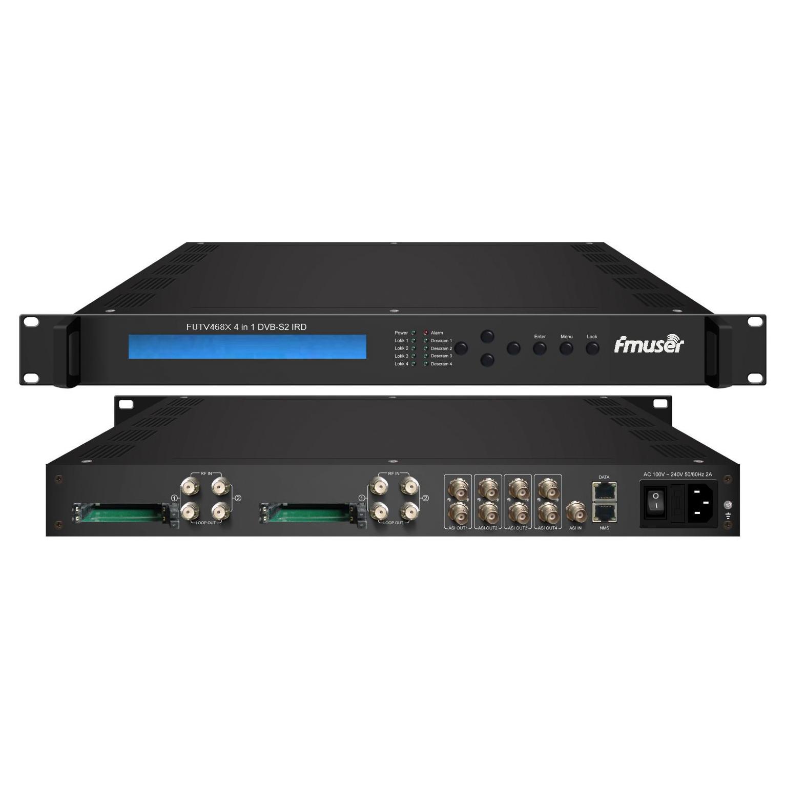 Sintonizador FMUSER FUTV468X 4 CAM IRD (entrada RF 4 DVB-C / T / S / S2, entrada de IP 1 ASI 4, saída IP de 4 ASI)