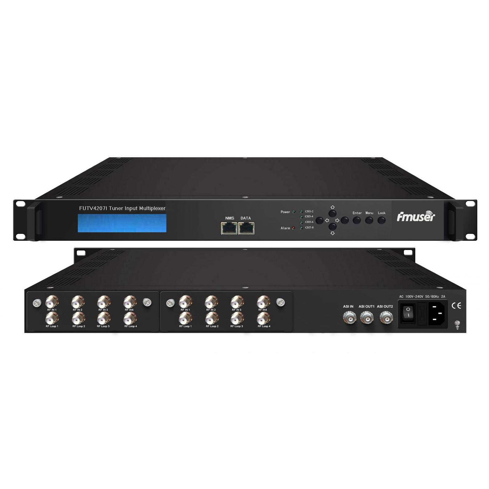Sintonizador FMUSER FUTV4207I 8 IRD (entrada RF 8 DVB-S2 / T, entrada 1 ASI, entrada 2 ASI, saída IP 1 ASI XNUMX)