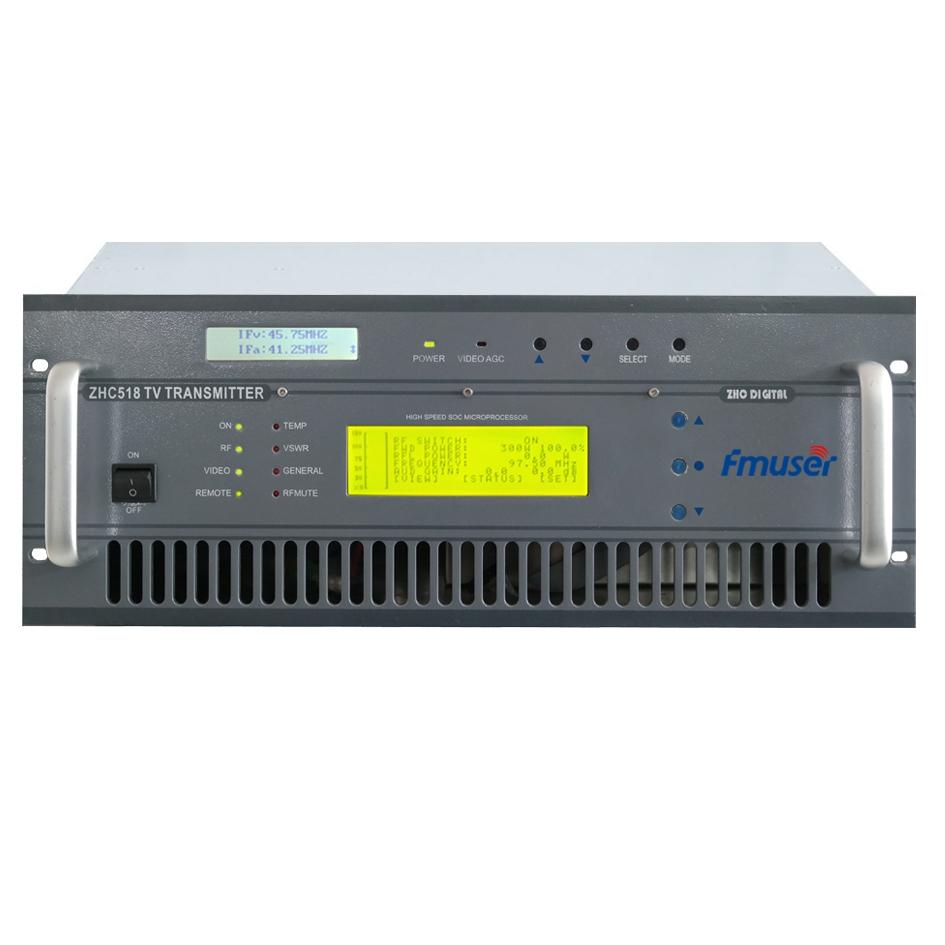 FMUSER FU518A-300W Transmissor de TV analógico de 300 watts para estação de TV 4U Rack