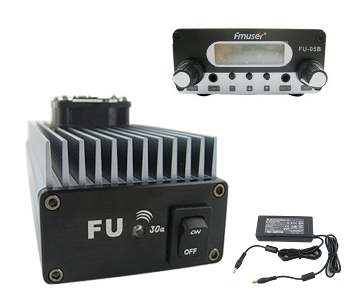 FMUSER FU-30A 30W FM Power Amplifier FM transmisorea ezarri FM exciter eta Power Supply batera