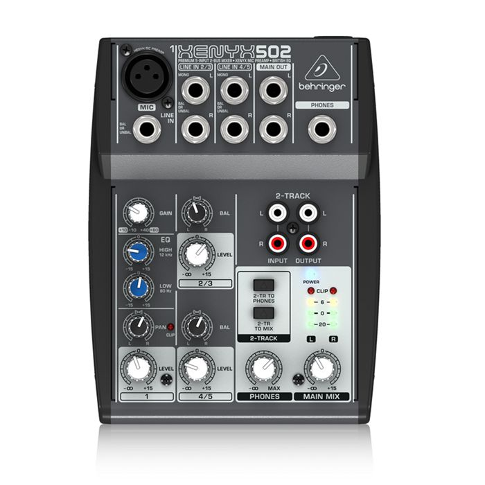FMUSER Behringer Xenyx Q502USB Mixer Premium 5-Input, 2-Bus Mixx analogikoa British2-Band EQ batera, USB Audio Interfazea, Mic Preamp, 2 Stereo Kanalak eta CD / Tape I / O