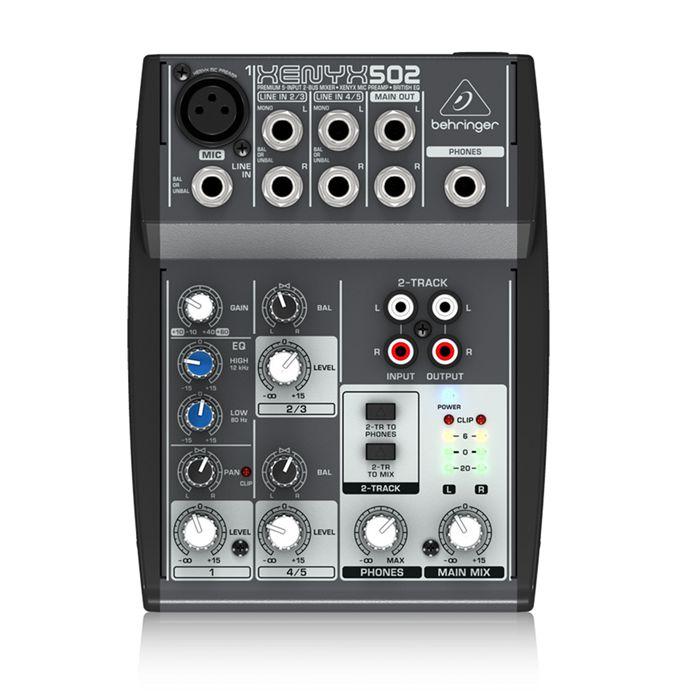 FMUSER Behringer Xenyx Q502USB Menger Premium 5-invoer, 2-Bus Analog Menger met British2-Band EQ, USB Audio Interface, Mic Preamp, 2 Stereo Kanale en CD / Tape I / O