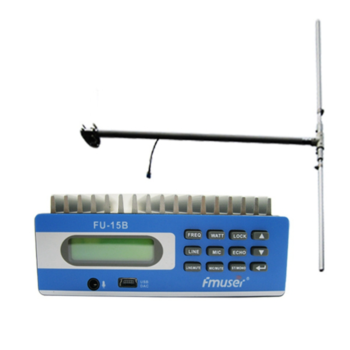 FMUSER FU-15B CZE-15B CZE-15B 15w Lav Power PLL Stereo FM Broadcast Radio Sender Kit FM Exciter PC Control SWR Beskyttelse 1 / 2 Wave Dipole Antenne Kit til Small Radio Sation Cover 3-5km Afstand