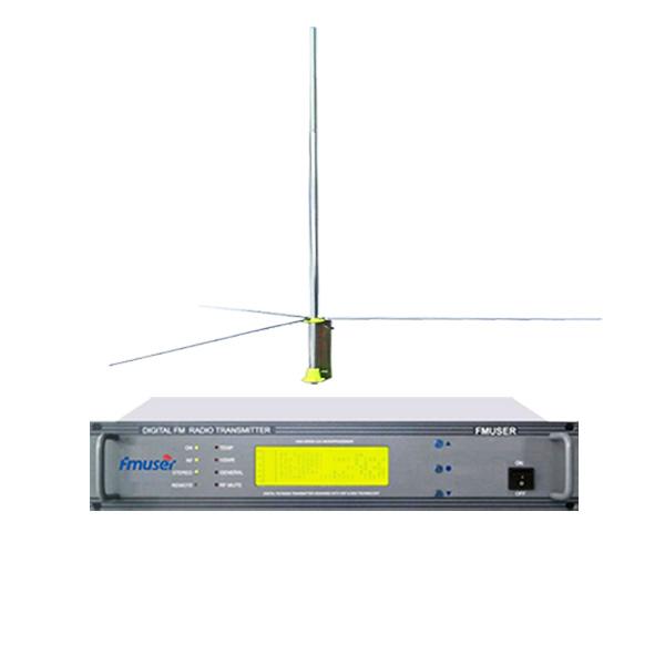FMUSER FU618F-100C 100W 2U 스테레오 FM 방송 라디오 송신기 FM 자극하는 사람 전원 조정 가능 + GP200 1/2 GP 안테나 키트 라디오 방송국