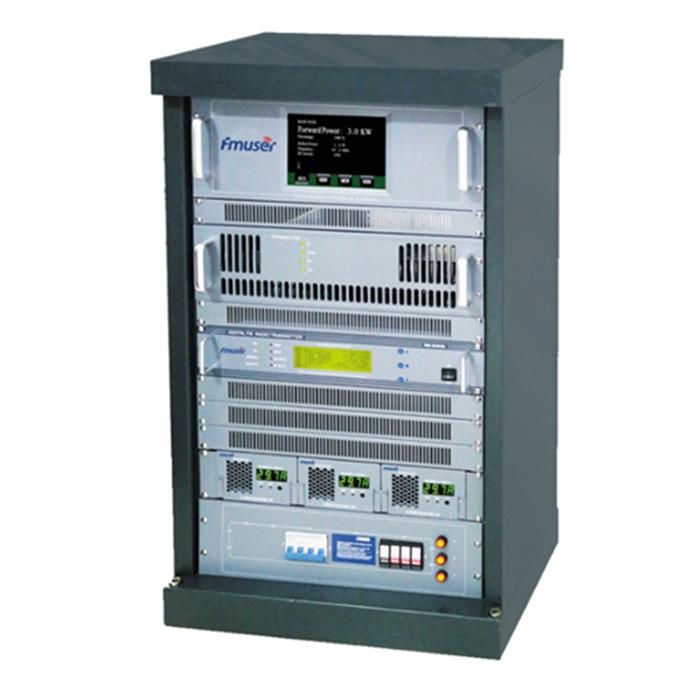 FMUSER FU618F-3kw 3000W 3KW Émetteur de diffusion FM professionnel Montage en rack AES / EBU Haute qualité + Antenne dipôle FM-DV6 à 1 baies