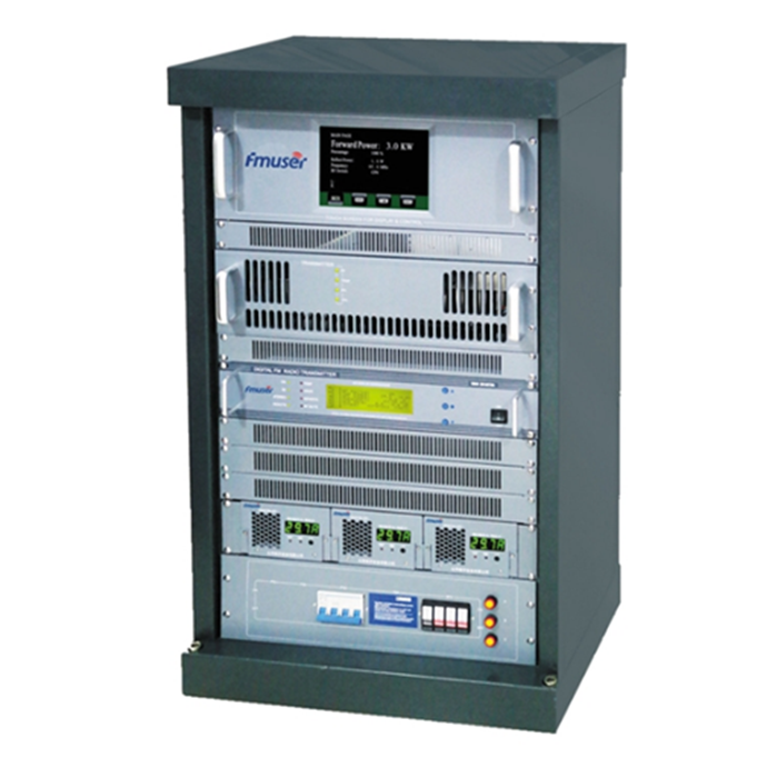 FMUSER FU618F-3kw 3000W 3KW Transmițător FM de transmisie profesională Suport raft AES / EBU de înaltă calitate + Antenă dipolă cu 4 golfuri FM-DV1