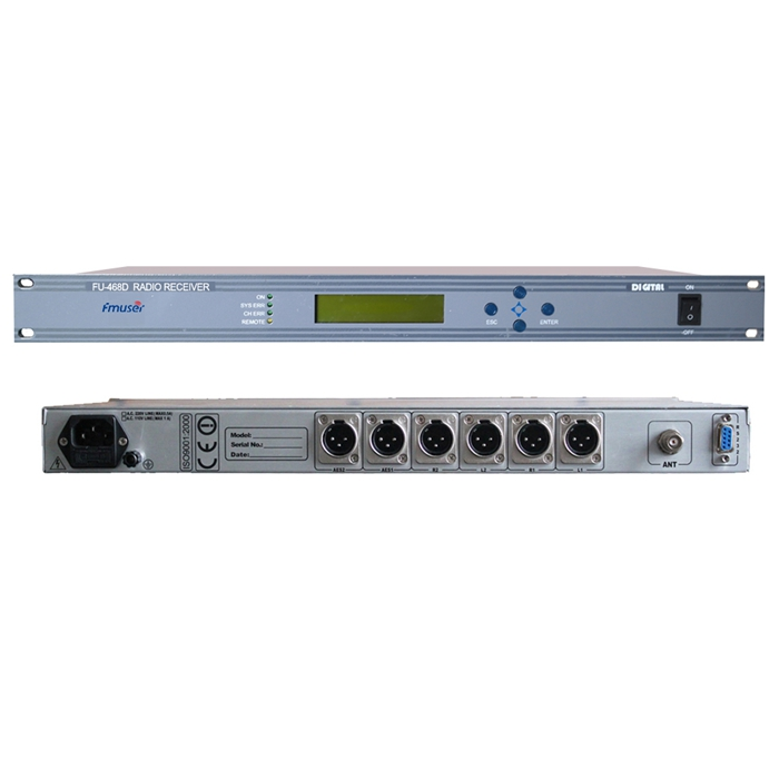 FMUSER FU-468D Profesionální digitální demodulátor FM Rádio FM Programy pro FM opakovač Sledování FM signálů s výstupem AES / EBU