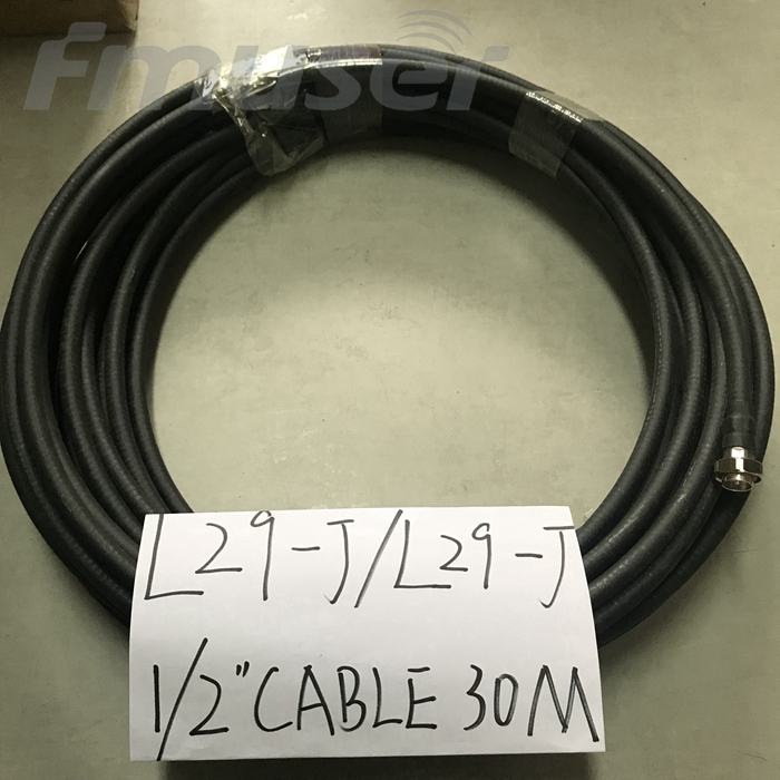FMUSER 1/2 '' RF Kabel FM Antenna Feeder Cable Coaxial 30 Meters dengan L29-J L29-J Connector L29 Pria -L29 Pria Connector