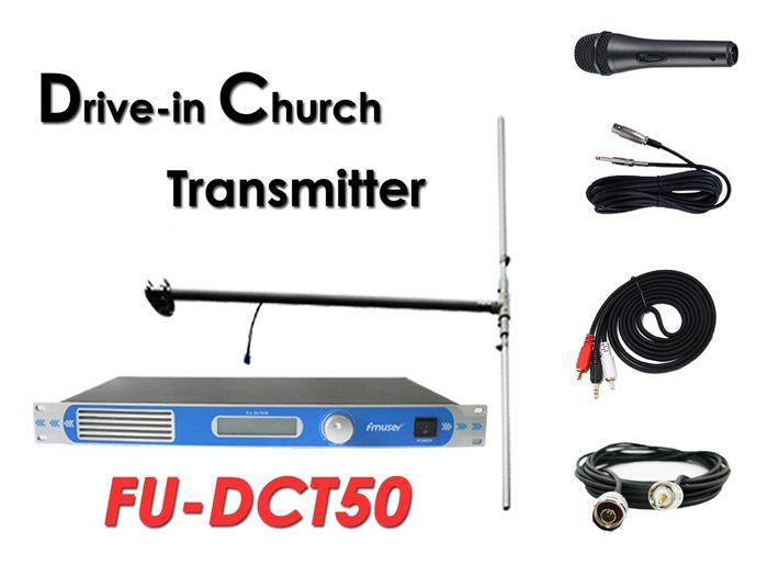 Atacado Amazon FMUSER Transmissor FM 50Watt FU-DCT50 + antena dipolo DP100 + cabo + conjunto de microfone para serviço religioso na igreja / cinema / estacionamento