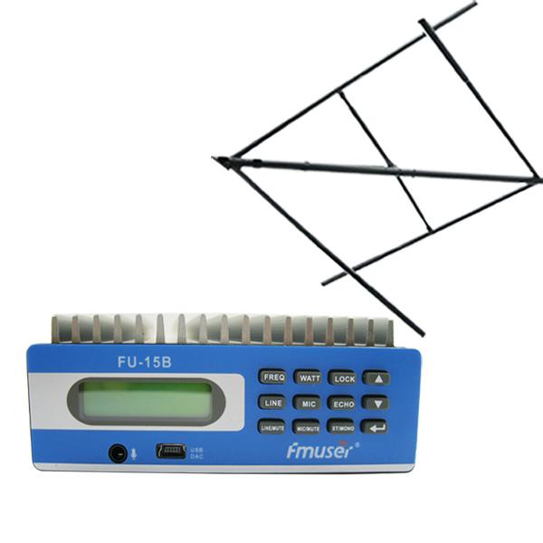 FMUSER FU-15B 15W Sada rádiových vysielačov FM s nízkym výkonom Vysielač FM s vysokým rozlíšením FM Exciter + Súprava kruhových polarizovaných anténov CP100 pre FM rádiostanicu Ochrana PC SWR Ochrana CZE-15B SDA-15B
