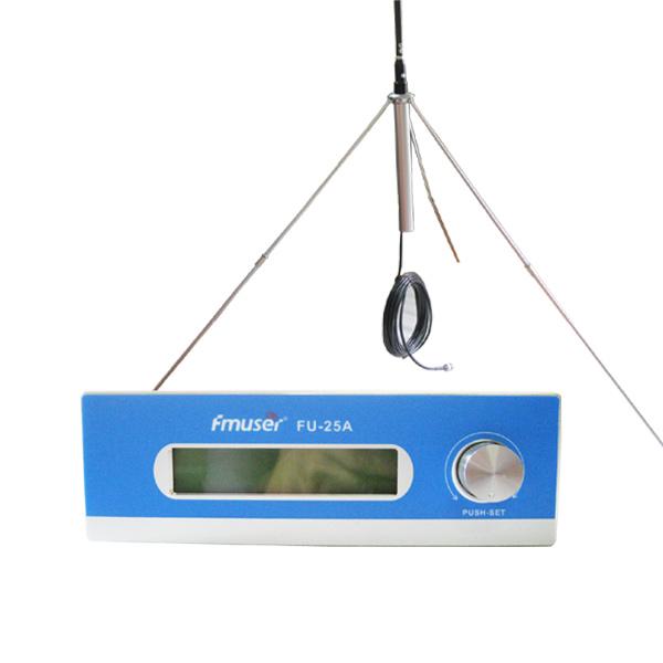 Продажба на едро Amazon FMUSER FU-25A 25W дълъг обхват FM предавател FM излъчвател комплект за моно / стерео регулируем FM възбудител +1/4 вълна GP антена за FM радиостанция CZE-T251 CZH-T251