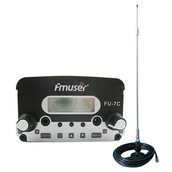 FMUSER FU-7C 7W Behe ​​Power FM transmisorea Set PLL FM transmisorea Stereo FM Broadcast transmisorea FM Exciter + CA200 Car Sucker Antena Kablea Kit Txiki Radio Station / Drive-in Cinema CZH-7C CZE-7C