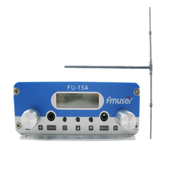 Venda a l'engròs d'Amazon FMUSER FU-15A Sistema de transmissor de FM FM de 15W de llarg abast Transmissor de transmissió de FM Emissor FM + DP100 Kit d'antenes dipol de 1/2 onada per estació de ràdio FM CZE-15A CZH-15A