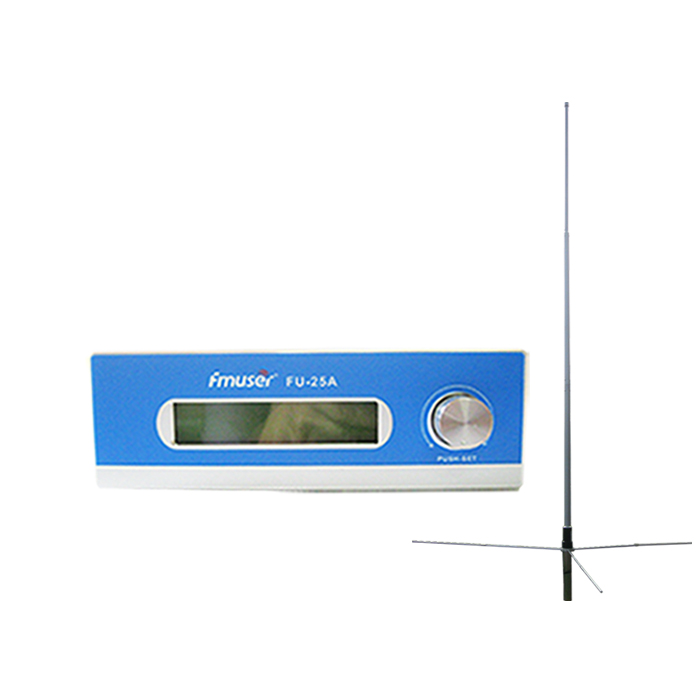 FMUSER FU-25A 25W FM-sändare FM-sändare Sändare Kit FM Exciter Utmärkt ljudkvalitet 0-25w Mono / Stereo + 1 / 2 Wave GP-antenn för FM-radiostation CZE-T251 CZH-T251