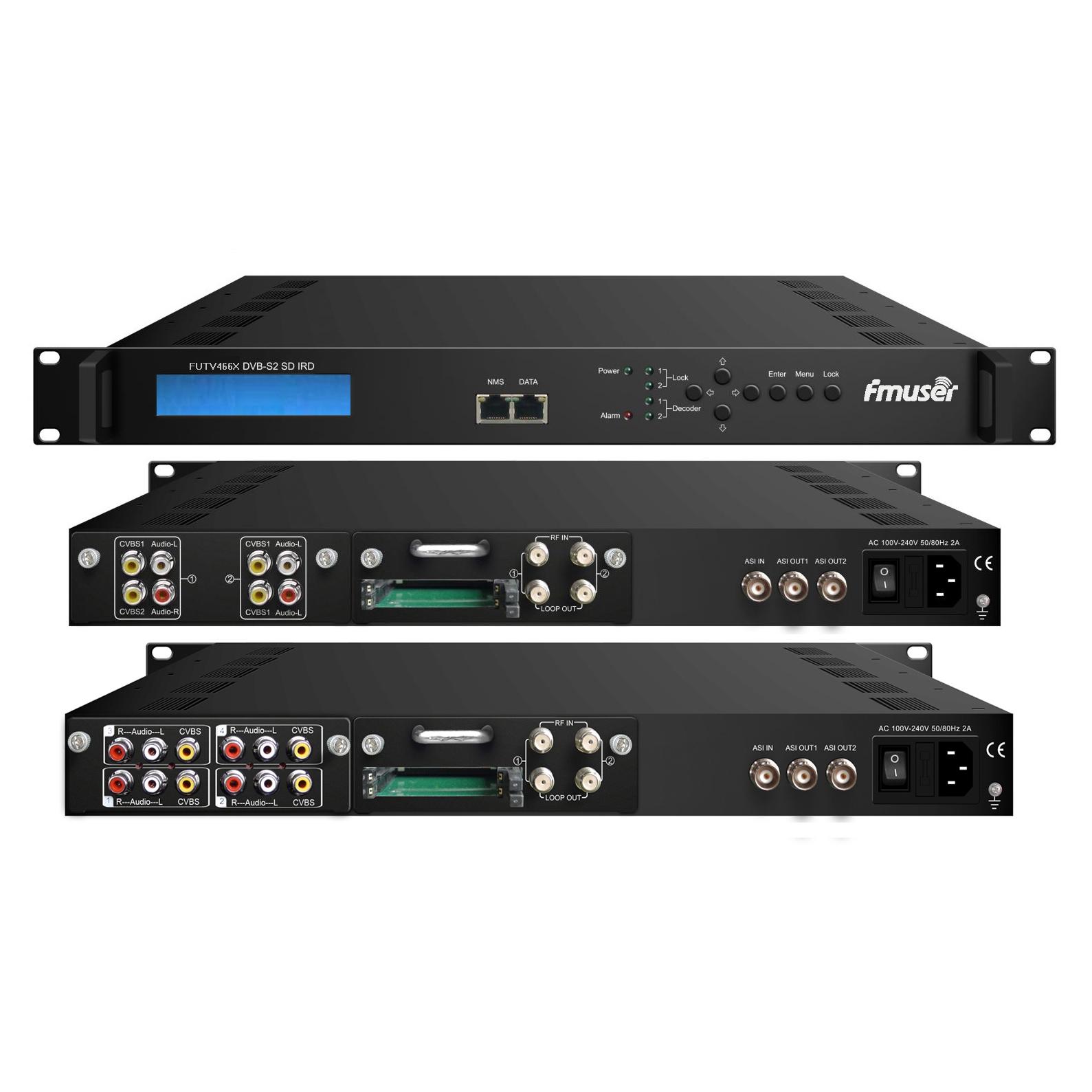 FMUSER FUTV466X 2 тунер CAM SD IRD (2 DVB-C / T / S / S2 RF вход, 1 ASI IP вход, 2 ASI 1 IP изход) с MUX