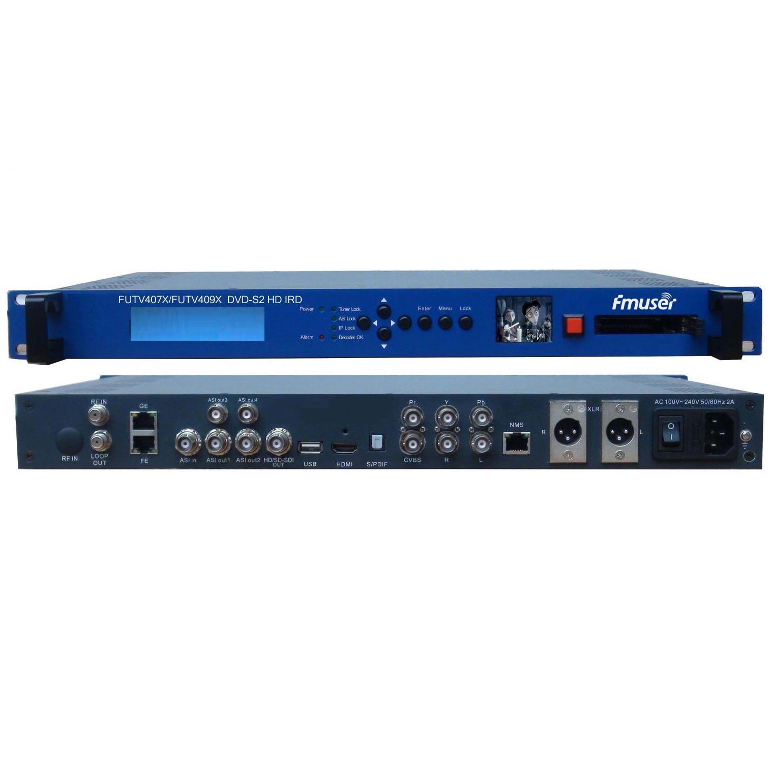 FMUSER FUTV409X / FUTV407X CAM IRD (1 DVB-C / T / S / S2, DMB-T, ISDB-T, ATSC-T 8VSB RF Input, 1 ASI IP In, 2 ASI 1 IP Output, HDMI SDI CVBS XLR) con pantalla en vivo