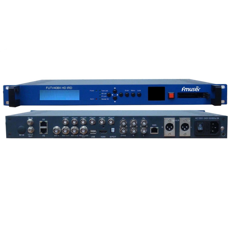 Fmuser FUTV408X HD IRD (1 DVB-C / S / T / S2, ISDB-T, ATSC-T 8VSB RF pembejeo, 1 ASI IP Katika, 2 1 ASI IP Pato, HDMI SDI CVBS XLR Out) na Screen Live